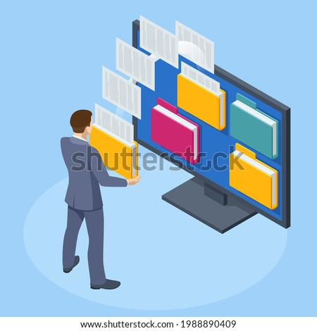 Isometric Database, Archive, Folder in the archives. Drawer with folders for files. Businessman holding a folder with documents from the archive managing online digital database
