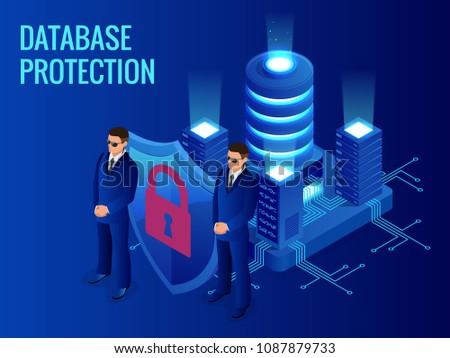 Isometric database protection concept. Server room rack, database security, shield server unit, computing digital technology. Internet equipment industry. Network telecommunication server.