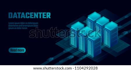 Isometric datacenter cloud computing storage concept banner. Site hosting big data processing rack rent. Mainframe computer network system server farm mining 3d neon dark design vector illustration Foto stock ©