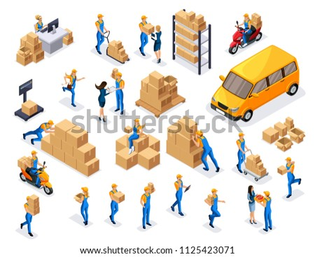 Isometric delivery service, couriers, warehouse workers, call center is a large set of symbols and concepts for creating vector illustrations.