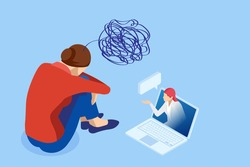 Isometric Depressed women. Online psychotherapy. Psychology, health, care, depression, frustration, medicine concept. Psyhology mental problems, depression panic attacks, paranoia anger control
