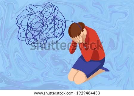 Isometric Depressed women. Psychology, health, care, depression, frustration, medicine concept. Psyhology mental problems, depression panic attacks, paranoia anger control Foto stock ©
