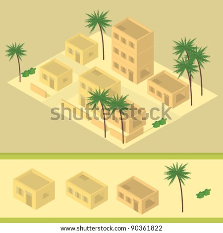 isometric desert building illustration