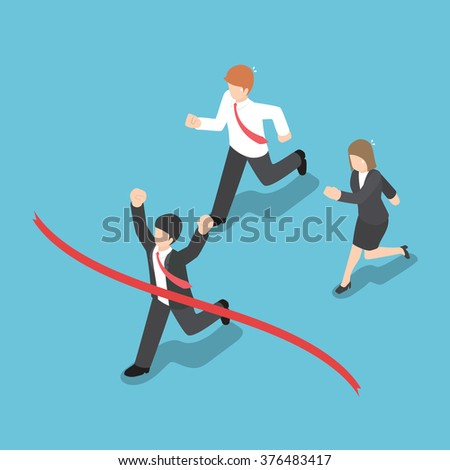 Isometric design businessman winning competition and crossing the finish line, VECTOR, EPS10