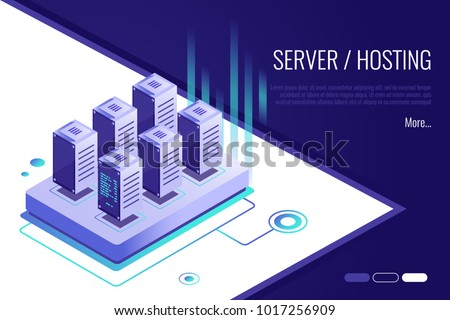 Isometric design concept of landing page suggesting to buy or rent a servers and hosting.Header for website.