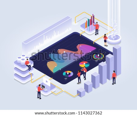 Isometric design concept people interactive working analyzing statistics. Data visualization 3d object. Vector illustrations.