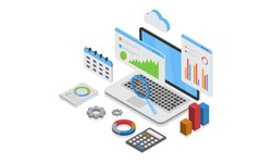 Isometric design Data Analysis. Modern vector illustration concepts for background, banner, mobile app and website.