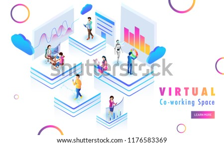 Isometric design for Virtual Co-Working Space web template design, remote coworking platform with miniature people analysis stats at distant places.
