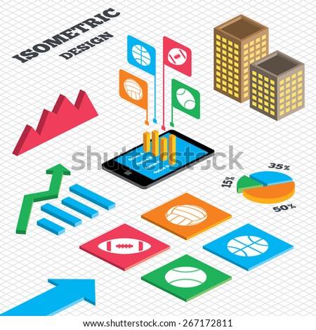 Isometric design. Graph and pie chart. Sport balls icons. Volleyball, Basketball, Baseball and American football signs. Team sport games. Tall city buildings with windows. Vector