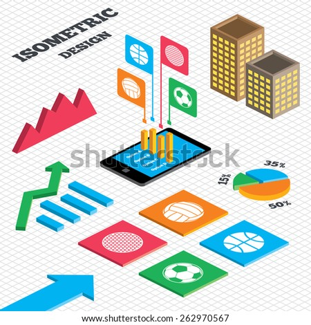 Isometric design. Graph and pie chart. Sport balls icons. Volleyball, Basketball, Soccer and Golf signs. Team sport games. Tall city buildings with windows. Vector