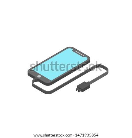 Isometric design smart phone charging device, the charging device flat design modern isolated white background
