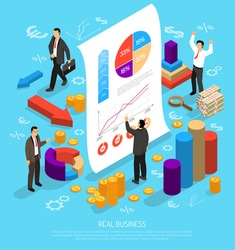 Isometric diagrams infographics business illustration with human characters 3d graphs money arrows and flat financial pictograms vector illustration