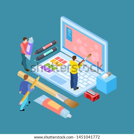 Isometric digital artists vector concept. Designers, brushes, notebook and stationery illustration. Illustration of designer and artist team drawing at laptop