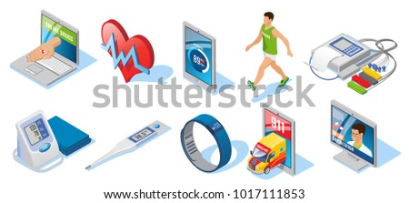 Isometric digital medicine set with applications for health monitoring cardio training electronic thermometer smart bracelet online consultation isolated vector illustration