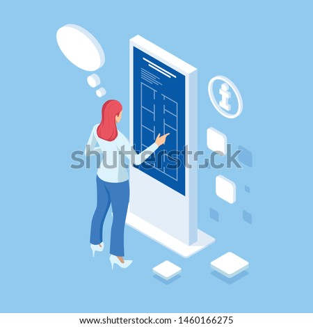 Isometric digital monitor with infographics. Female standing at the big display. Concept of business assistance. Interactive Information Kiosk, Advertising Display, Terminal Stand