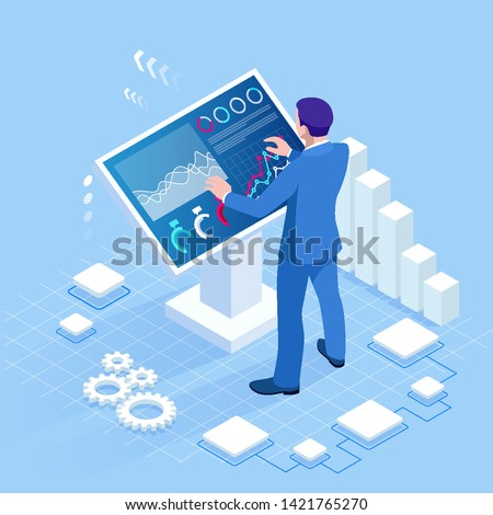 Isometric digital monitor with infographics. Male standing at the big display. Concept of business assistance. Interactive Information Kiosk, Advertising Display, Terminal Stand