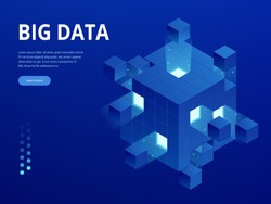 Isometric Digital Technology Web Banner. BIG DATA Machine Learning Algorithms. Analysis and Information. Big Data Access Storage Distribution Information Management and Analysis.