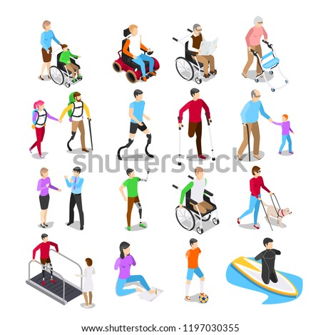 Isometric disabled people. Disability care, disabled elderly senior in wheelchair and limb prosthetics. Disabilities people working, physiotherapy rehabilitation exercise vector isolated icons set