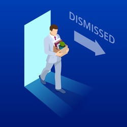 Isometric dismissed frustrated business person holding a box with his things. Unemployment, crisis, jobless and employee job reduction