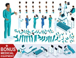 Isometric Doctor African American, create your 3d paramedic, sets of gestures of legs and hands, emotions and hairstyles. Bonus medical equipment, set 1.