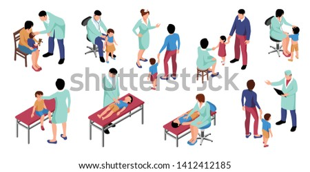 Isometric doctor pediatrician set with isolated images and human characters of children with parents at specialists vector illustration