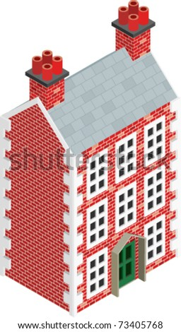 Isometric Drawing of a three story Dolls House. Vector Version.