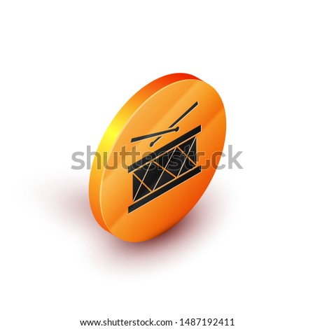 Isometric Drum with drum sticks icon isolated on white background. Music sign. Musical instrument symbol. Orange circle button. Vector Illustration