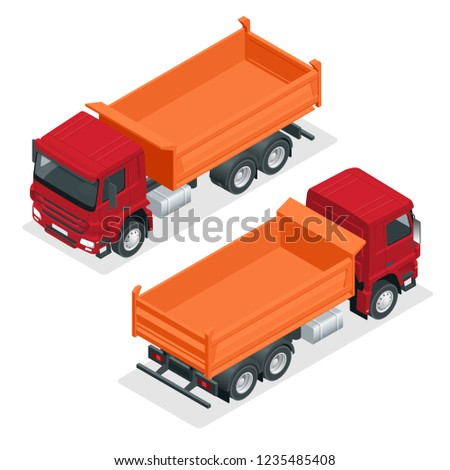 Isometric Dump Truck vector illustration. Isolated on white Hydraulic tipper trailer, coal mine dumper, construction truck vector, construction lorry, orange construction machinery.