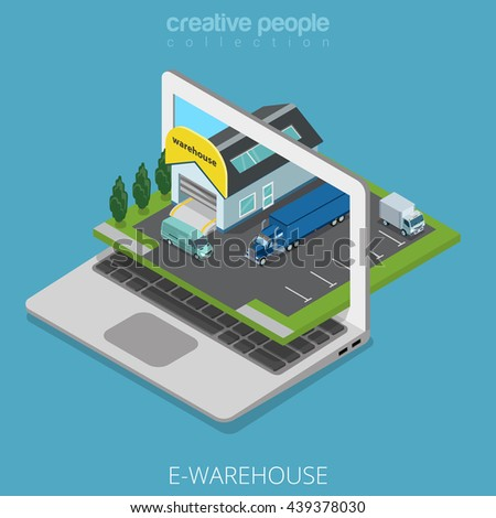 Isometric E-warehouse store business concept. Flat 3d isometry web site conceptual vector illustration. Creative people collection. Stock laptop screen cars nature parking building truck van delivery.