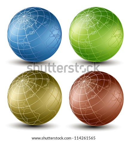 isometric earth globes set