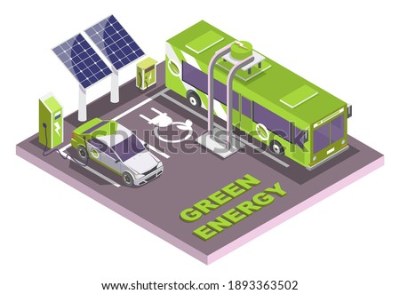 Isometric eco transport, electric vehicle charging station with solar panels, flat vector illustration. Electromobile and city public bus. Green energy. Stockfoto ©