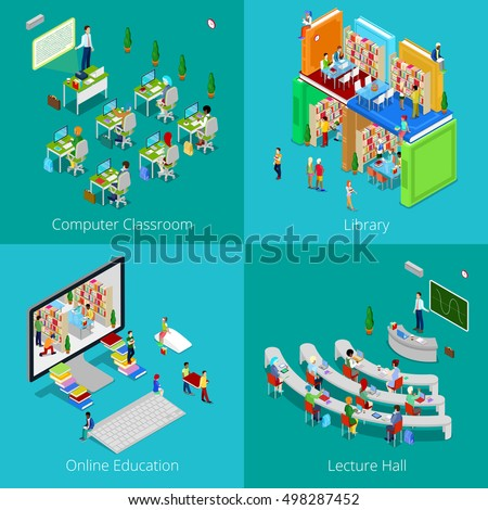 Isometric Educational Concept. University Computer Classroom, Online Education, Library with Students, College Lecture Hall. Vector 3d flat illustration