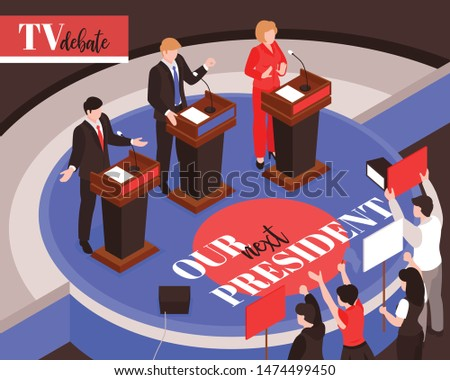 Isometric election composition background with characters of president candidates during debates and supporters holding colourful placards vector illustration
