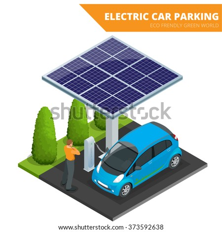 isometric electric car parking