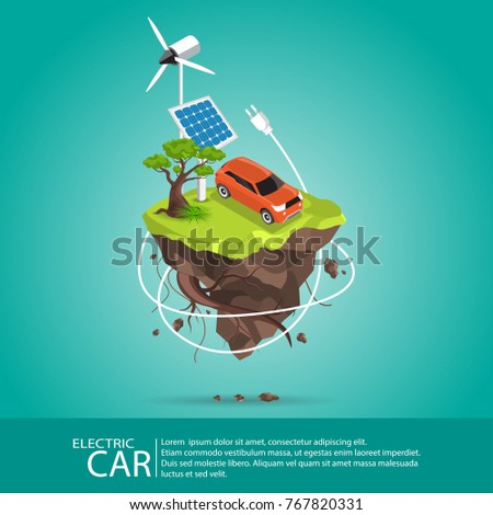 Isometric Electric cars charging at the charger station in front of the solar panels and wind turbines.Eco green city theme.