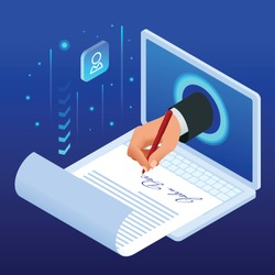 Isometric electronic signature concept. Electronic Document, digital form attached to electronically transmitted document, verification of intent to sign agreement and legal deal.