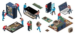 Isometric electronics appliances gadget repair service set with isolated human characters of repairmen with computer circuitry vector illustration