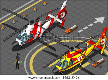 isometric emergency helicopters
