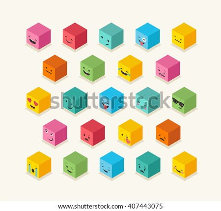isometric emoticons cube