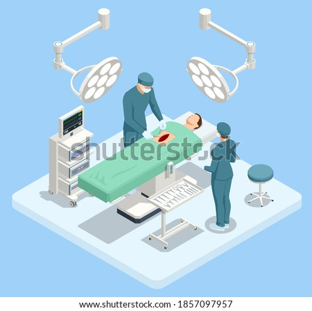 Isometric Equipment and Medical Devices in Modern Operating Room. Medical Team Performing Surgical Operation in Modern Operating Room Stock photo ©