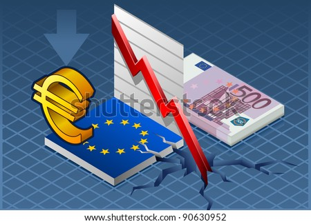 Isometric Europa crisis Detailed illustration of a isometric concept of economic depression. - stock vector