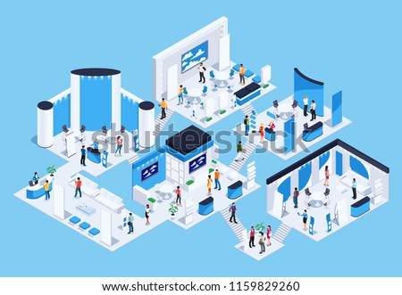 Isometric exhibition hall with people. 3d promotional stands. Exposition booth. Blank mockup. Vector illustration.