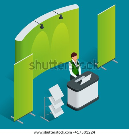 Isometric exhibition stand. Trade show booth concept.  Flat 3d vector Promotion Stand illustration.