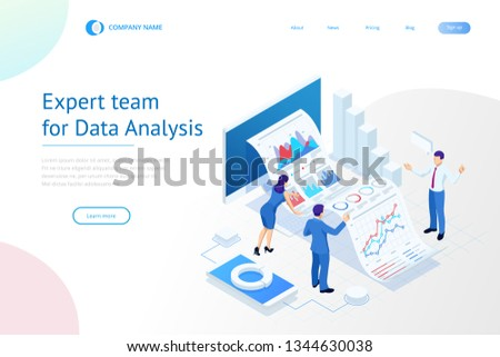 Isometric Expert team for Data Analysis, Business Statistic, Management, Consulting, Marketing. Landing page template concept.