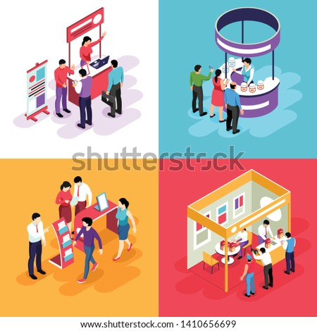 Isometric expo design concept with images of exhibit stands and people characters looking into exhibition booths vector illustration