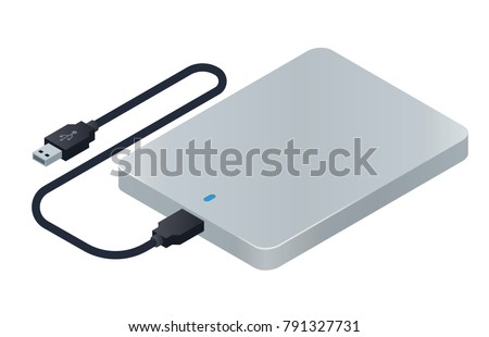 Isometric external hard drive. HDD with usb connector