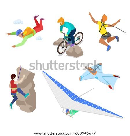 isometric extreme sports people