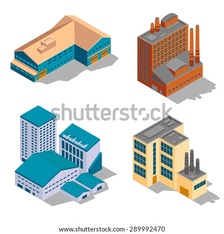 Isometric factory and industrial buildings set. Plant business, architecture construction, power structure, vector illustration