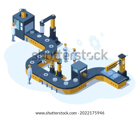 Isometric factory automated mechanised conveyor line. Industrial automated robotic conveyor, production 3d line vector illustration. Electronic factory assembly line with plant workers ストックフォト ©