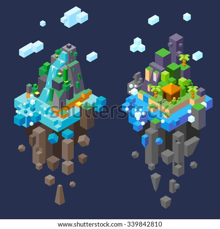 isometric fantastic landscapes